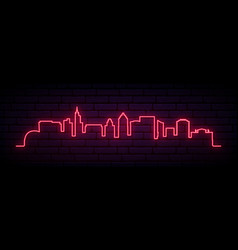 red neon skyline raleigh bright raleigh city vector image