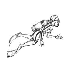 scuba diver engraving vector image