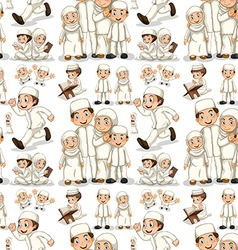 Seamless muslim family in white costume vector