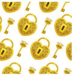 Seamless pattern with key gold lock hearts vector