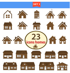 set classic homes in brown color vector image