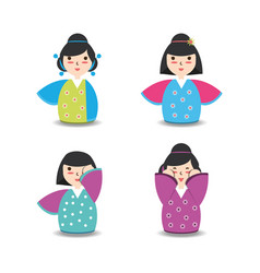 Set japanese women with kimono design vector