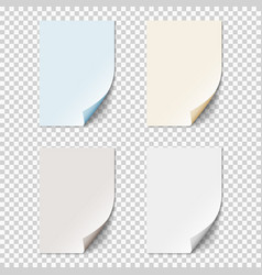 Set of empty paper sheets with curled corners vector