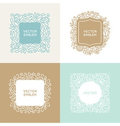 Set of floral monograms and logo design templates vector