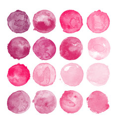 Set of pink watercolor shapes vector