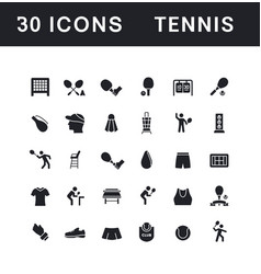 Set simple icons tennis vector