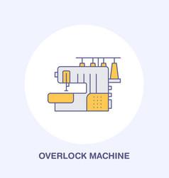 Sewing machine overlock flat line icon logo vector