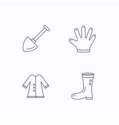 Shovel boots and gloves icons vector image