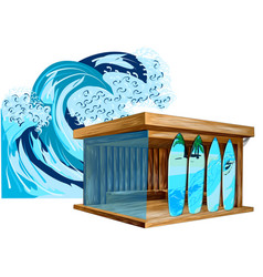 surf shop and wave vector image
