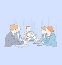 Teamwork meeting cooperation business concept vector