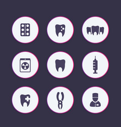 Teeth dental care tooth cavity icons set vector
