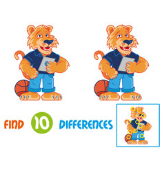 tiger find 10 differences vector image