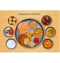 Traditional arunachali cuisine and food meal thali vector