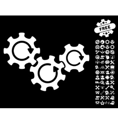 Transmission Gears Rotation Icon with Tools vector