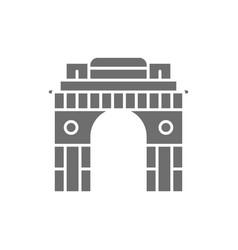 Triumphal arch gate india to new delhi grey vector