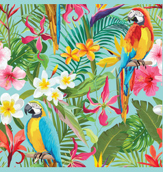 Tropical flowers and parrots seamless pattern vector