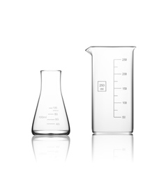 Two Chemical Laboratory Glassware Or Beaker Glass vector image