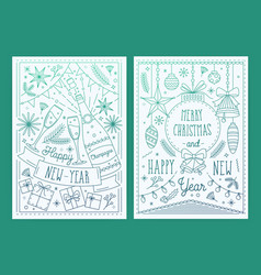 two christmas and new year greeting cards with vector image