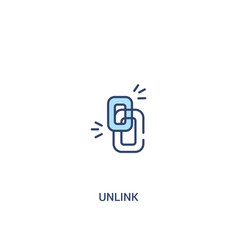 Unlink concept 2 colored icon simple line element vector