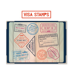 visa stamps for usa and korea georgia and france vector image