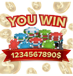 You win jackpot background falling vector