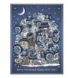 cartoon winter fairytale town greeting card vector image vector image