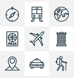 Exploration outline icons set collection of tram vector