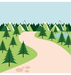 pine trees landscape icon vector image