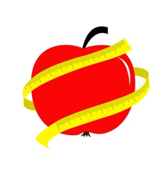 Red apple with yellow measuring tape ruler Diet vector image