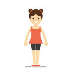 sporty smiling girl in sportswear standing vector image vector image