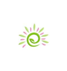 beauty green leaf nature logo vector image