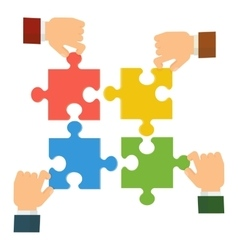 hands collect puzzle vector image