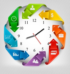 Infographics origami clock with icons vector image