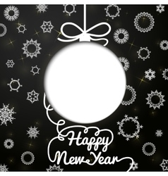 New year handwritten swirl lettering greeting card vector image