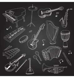 Rock and pop music hand drawn instruments guitar vector image