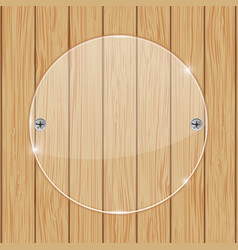Round glass plate on wooden background vector