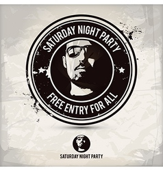 Saturday night party stamp vector image vector image