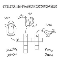 funny animals coloring book crossword vector image vector image