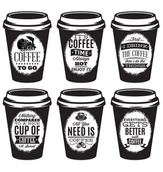 set of patterns for paper cups for coffee vector image vector image