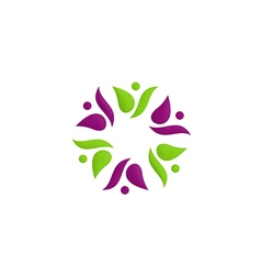 beauty people circle flower color logo vector image