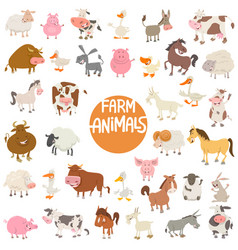 cartoon animal characters large set vector image vector image