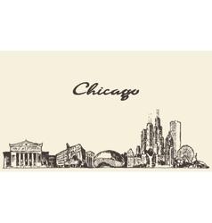 Chicago skyline vintage drawn sketch vector