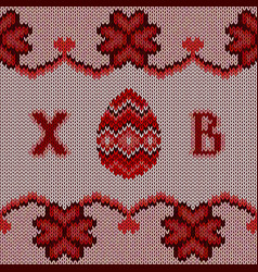 red knitted easter background vector image