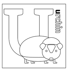 Urchin letter u coloring page vector