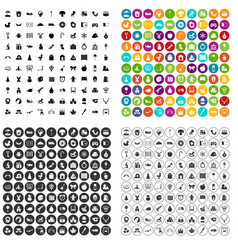 100 nursery school icons set variant vector