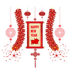 2019 chinese new year greeting card with scroll vector