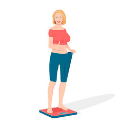 a woman shows that she lost weight vector image