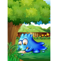 A yard with a blue monster writing vector image