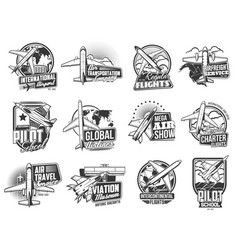 airline flights air transport icons set vector image
