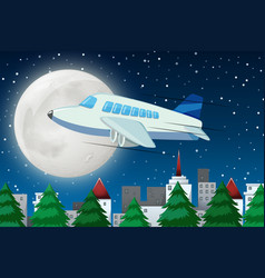airplane flying over sky at night vector image